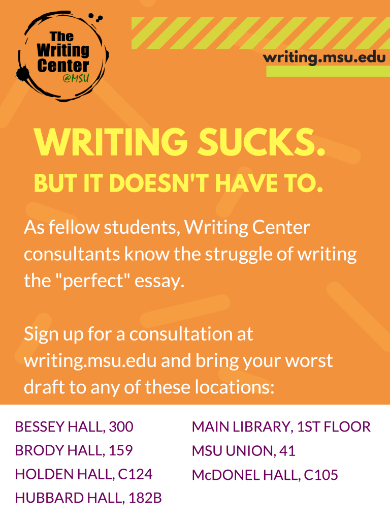 A flyer for the MSU Writing Center.