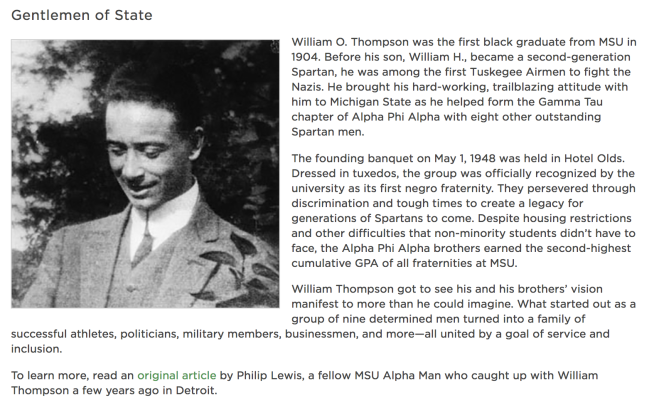 "A screenshot of ""Gentlemen of State"" MSU February Newsletter story."