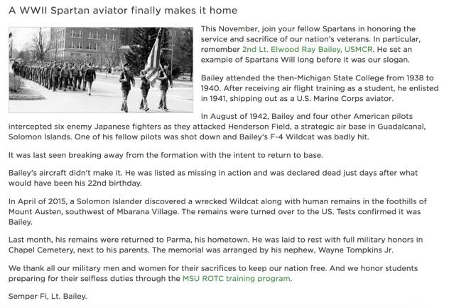 A screenshot of the November newsletter for the MSU Alumni Association.