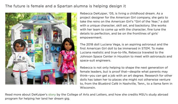 A screenshot of the November MSU Alumni Association newsletter.