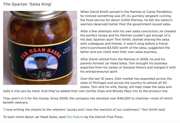 "A screenshot of ""The Spartan 'Salsa King'"" February MSU Newsletter story."