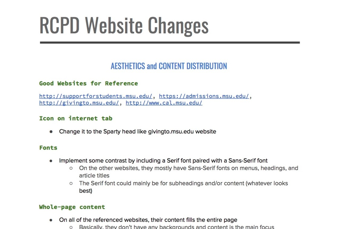 screen capture of suggestions for the new website for RCPD.